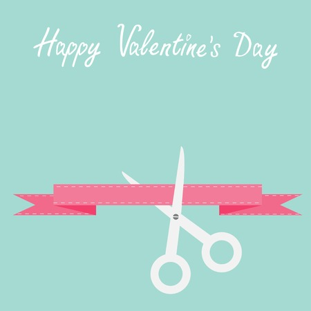 inaugural: Scissors cut decorative pink ribbon with dash line. Happy Valentines day card Flat design style. Vector illustration