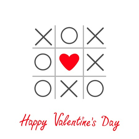 romance strategies: Tic tac toe game with cross and heart sign mark Happy Valentines day card Red Flat design Vector illustration