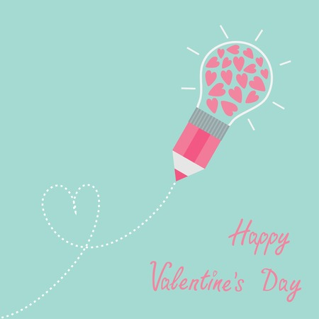 Pencil with light bulb and hearts. Dash line heart. Flat design lHappy Valentines day card Vector illustration Vector