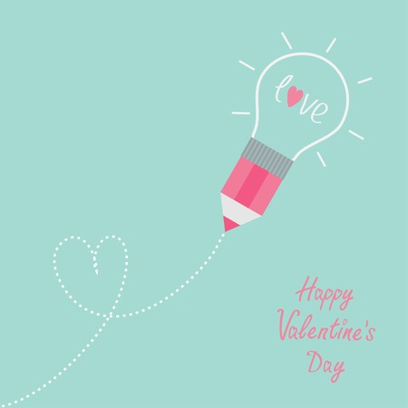 Pencil with light bulb and word love. Dash line heart. Flat design lHappy Valentines day card Vector illustration Vector