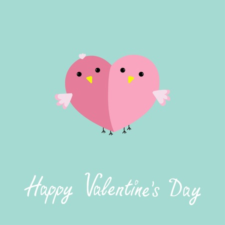 Two pink birds in shape of half heart Love cart Flat design style Happy Valentines day card. Vector illustration Illustration