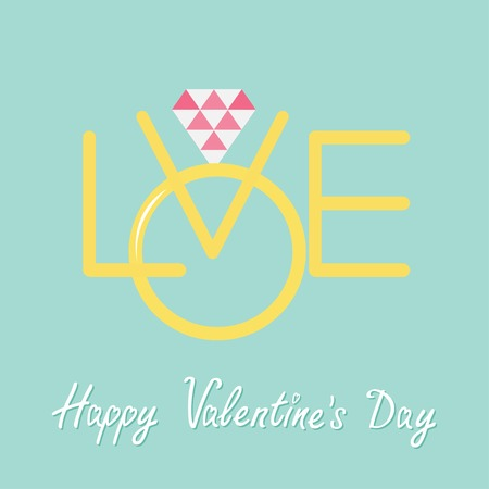 gold ring: Wedding gold ring with polygonal pink diamond. Word love Flat design Happy Valentines day Vector illustration Illustration
