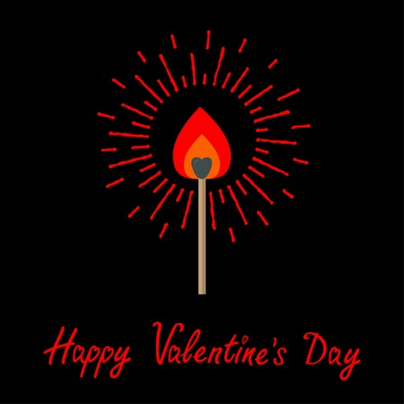 burning love: Burning love match with red and orange fire light shining sunlight effect. Flat design style. Happy Valentines day Vector illustration Illustration