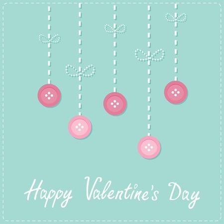stud: Hanging rain button drops. Dash line Love card Flat design Happy Valentines day Vector illustration Illustration