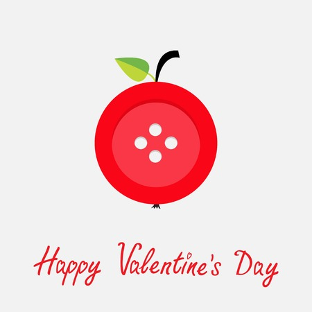 stud: Red button apple with word love Flat design style Happy Valentines day card. Vector illustration Illustration