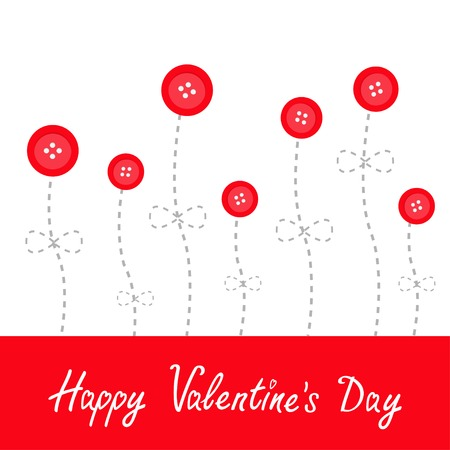 stud: Red button flowers. Dash line stem with bow Love Flat design Happy Valentines day card. Vector illustration Illustration