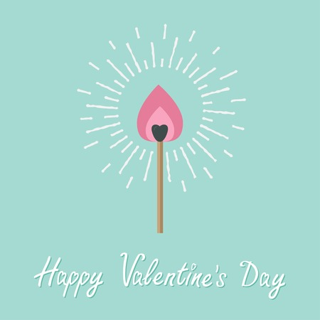 burning love: Burning love match with pink fire light shining sunlight effect. Flat design style. Happy Valentines day Vector illustration