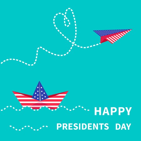 Presidents Day background Paper boat and paperplane. Dash line. Vector illustration Vector