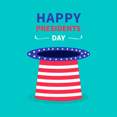 Big hat with stars and strip. Presidents Day background flat design Vector