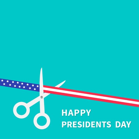 inaugural: Scissors cut american flag ribbon with stars and strips Presidents Day Flat design style. Vector illustration Illustration