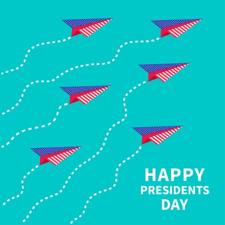 Six paper planes. Dash line  Presidents Day background Vector illustration Vector