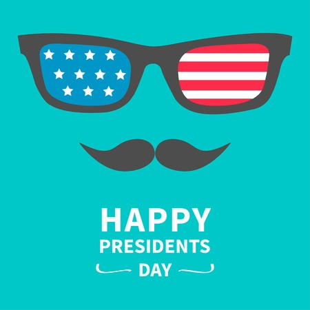 independent day: Glasses and mustaches. Presidents Day background flat design