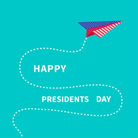 Presidents Day background Paper plane. Dash line Vector illustration Vector