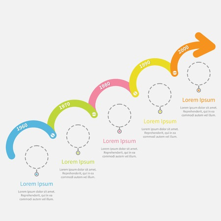 upwards: Timeline Infographic upwards arrow with screw dash line circles and text. Template. Flat design. Vector illustration Illustration