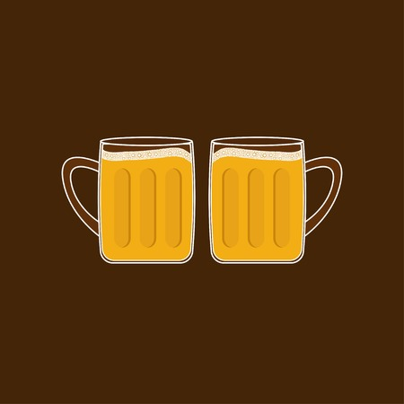 froth: Two beer glasses mug with foam cap froth bubble. Flat design Vector illustration