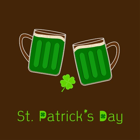 froth: St Patricks Day Two clink green beer glasses mug with foam cap froth bubble and clover leaf. Flat design Vector illustration