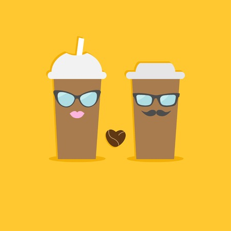 hot lips: Two disposable coffee paper cups with sunglasses mustache lips and bean heart. Flat design Vector illustration