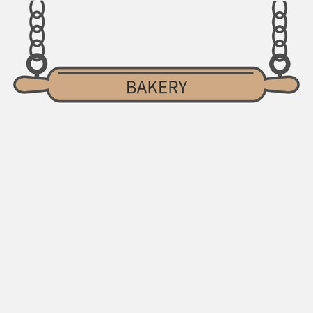 chain food: Wooden rolling pin plunger and chain. Bakery signboard nameplate template Flat design Vector illustration