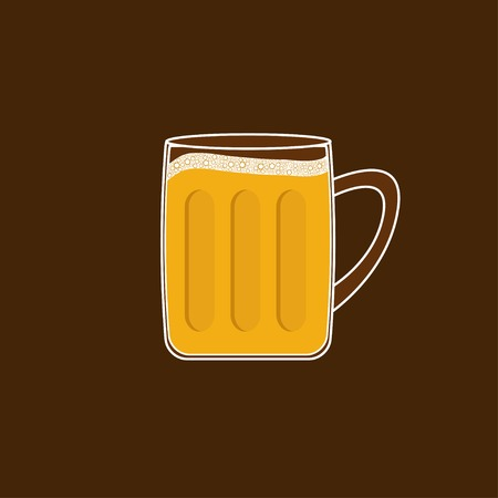 froth: Beer glass mug with foam cap froth bubble. Flat design Vector illustration