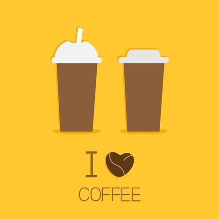 Two disposable coffee paper cups icon. I love coffe heart sead. Flat design  Vector illustration Vector