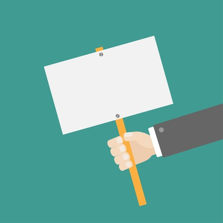 billboard: Businessman hand holding empty paper blank sign plate Flat design Vector illustration Illustration