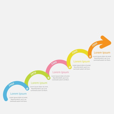 circle design: Colorful upwards arrow with screw Timeline Infographic and text. Template. Flat design. Vector illustration Illustration