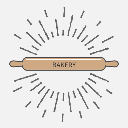 battledore: Wooden rolling pin plunger bakery tool shinging effect Flat design Vector illustration