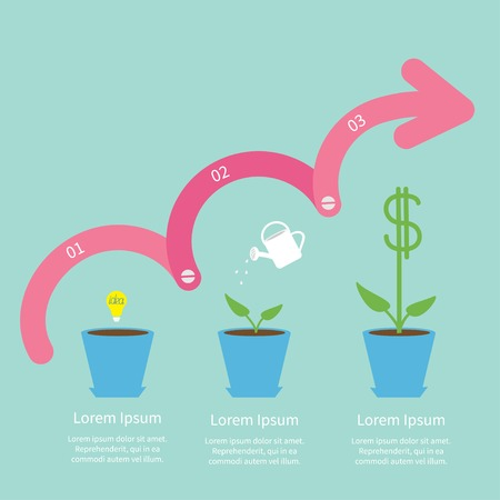 Idea bulb seed, watering can, dollar plant pot. Three step pink upwards arrow with screw Timeline Infographic  Flat design. Vector illustration Vector