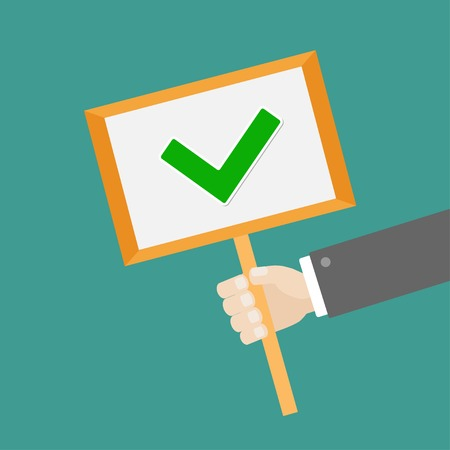 green tick: Businessman hand holding paper blank sign plate with green tick check mark Flat design Vector illustration
