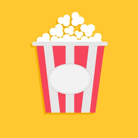Big Popcorn with empty label tag. Cinema icon in flat dsign style. Vector illustration