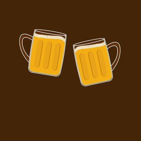 froth: Two clink beer glasses mug with foam cap froth bubble. Flat design Vector illustration Illustration