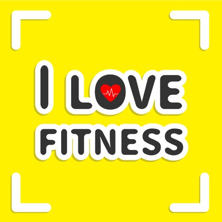 I love fitness text with heart sign on yellow background and frame Flat design Vector illustration Vector