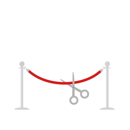 Scissors cut red rope silver barrier stanchions turnstile Template Flat design Vector illustration Vector
