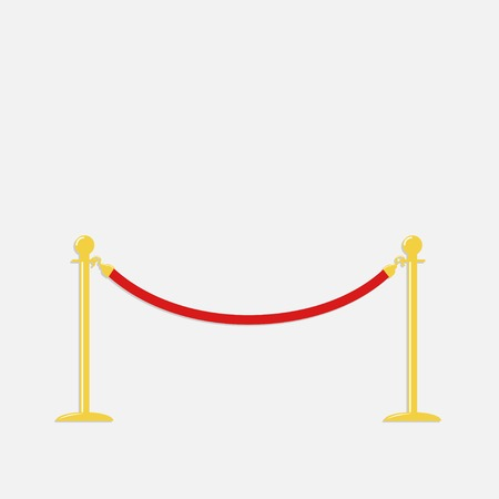 stanchion: Red rope barrier golden stanchions turnstile Isolated template Flat design Vector illustration