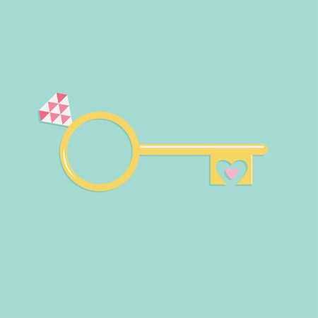 Key from heart wedding engagement ring with pink diamond Flat design Vector illustration Vector