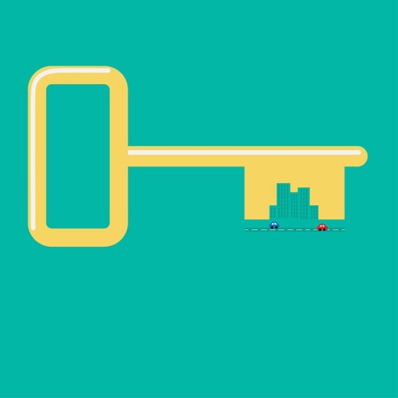 circuit sale: Golden key from the city Road, car, skyscraper icon Flat design Green background Vector iilustration