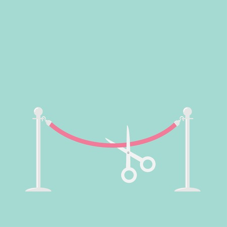 rope barrier: Scissors cutting pink rope silver barrier stanchions turnstile Flat design Vector illustration