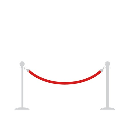 rope barrier: Red rope barrier stanchions turnstile facecontrol on white background Flat design Vector illustration
