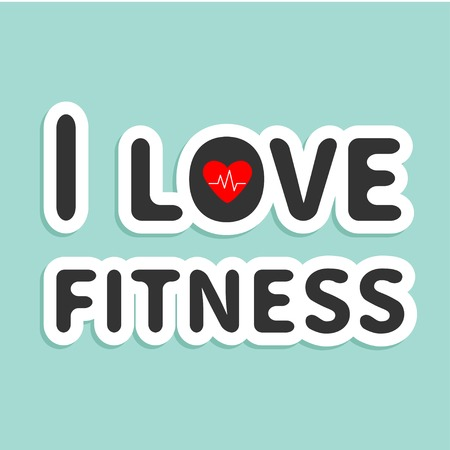 I love fitness text with heart sign Blue background Flat design Vector illustration Vector