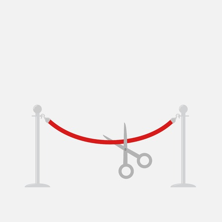 stanchion: Scissors cutting red rope silver barrier stanchions turnstile Flat design Vector illustration