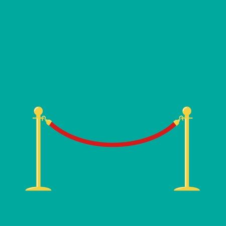 red barrier velvet: Red rope golden barrier stanchions turnstile on green background Flat design Vector illustration
