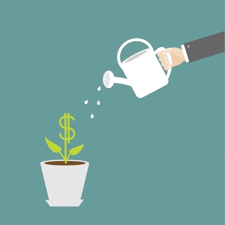 Hand watering can dollar plant in the pot. Financial growth concept. Vector illustration. Vettoriali