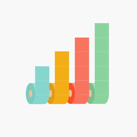 paper roll: Four column toilet paper roll chart diagram Dash line Flat design Infographic Template Vector illustration