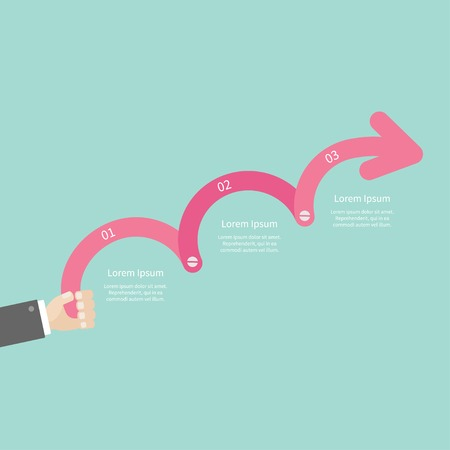 upwards: Hand holding  three step pink upwards arrow with screw Timeline Infographic and text. Template. Flat design. Vector illustration Illustration