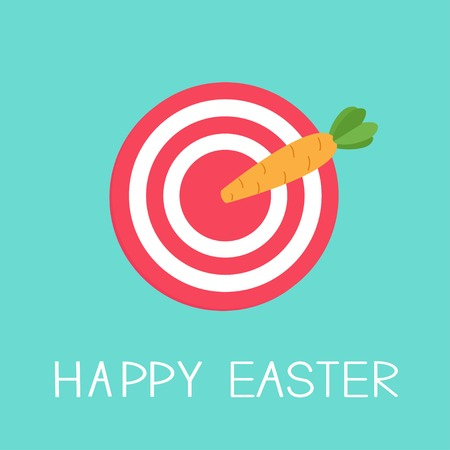 Target with carrot arrow. Happy easter card Flat design background Vector illustration. Vector