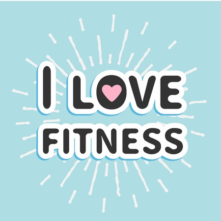I love fitness text with heart sign Shining effect Flat design Vector illustration Vector