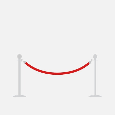 rope barrier: Red rope barrier stanchions turnstile Isolated template Flat design Vector illustration