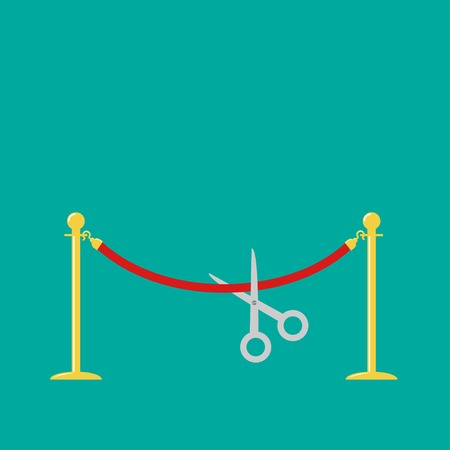 velvet rope barrier: Scissors cutting red rope golden barrier stanchions turnstile Flat design Vector illustration