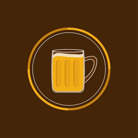 froth: Beer glass mug round icon with foam cap froth bubble. Flat design Vector illustration