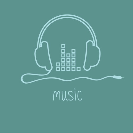 Headphones with cord and equalizer word Music background card. Outline icon. Flat design Vector illustration. Vector